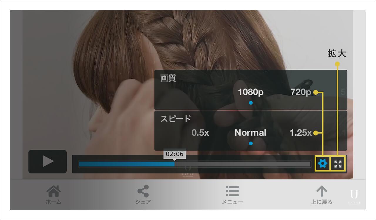動画の再生速度を変える機能